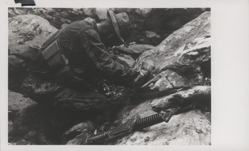 Robert Gwinn Fills His Canteens, 1969 1st Recon Danag Vietnam Marines CAR15 XM177