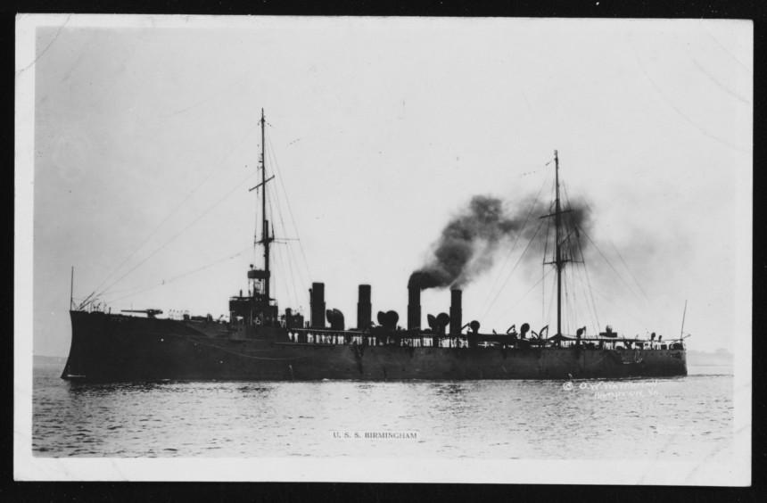 Birmingham, Photographed by O.W. Waterman, Hampton, Virginia, circa 1916. Courtesy of Admiral M.M. Taylor, USN(d), 1962. NH 77906