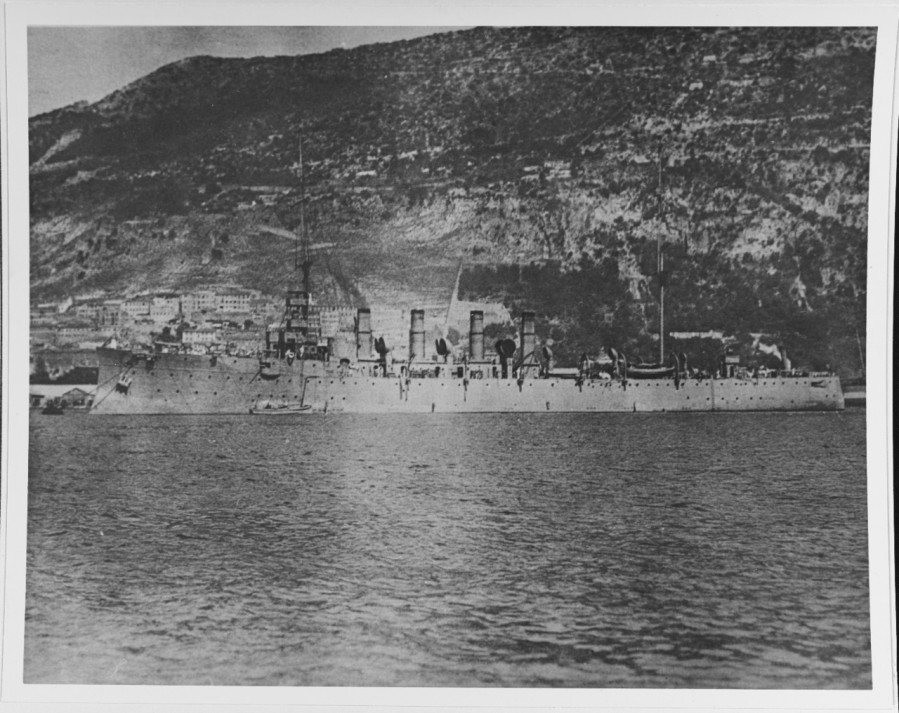 USS Birmingham (Scout Cruiser # 2) Moored in a harbor, circa 1918, probably in the Mediterranean area. Courtesy of Donald M. McPherson, 1969 NH 68227
