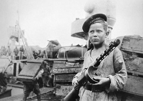 Boy of Soviet destroyer-leader 'Tashkent' on guard during the Siege of Sevastopol PPSh PPSh41 smg russian