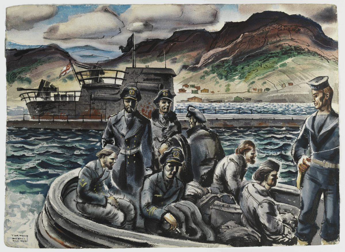 Canadian war artist Tom Wood's watercolor depicts German sailors being transferred from U-190 on 14 May 1945. Wood, assigned to paint subjects in eastern Canada and Newfoundland, was present when Canadian ships escorted U-190 to Bay Bulls, south of St. John's. There, Canadians removed the last of the U-Boat's crew, who had been operating the vessel under guard. The majority of U-190's crew had been taken onto Canadian ships at the time of the submarine's surrender. Beaverbrook Collection of War Art. CWM 19710261-4870