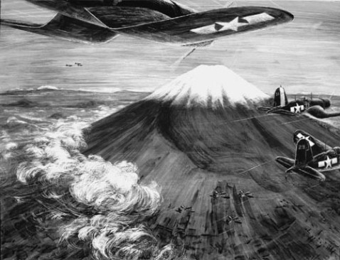 Corsairs Fringe Fuji. Painting, Wash and Scratch Board by Standish Backus 1945 NHHC 88-186-AC