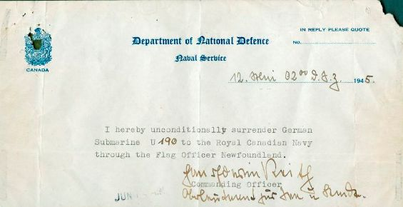In the early hours of 12 May 1945, Hans-Erwin Reith, U-190's commander, signed this document formally surrendering the submarine to the Royal Canadian Navy. Although units of the Royal Canadian Navy had been involved in the boarding or surrender of U-Boats during the war, this document marked the first formal surrender of a German submarine to Canadian forces. Kenneth George Tryon donated this document and related artifacts to the Canadian War Museum in 1968. George Metcalf Archival Collection CWM 19680168-009
