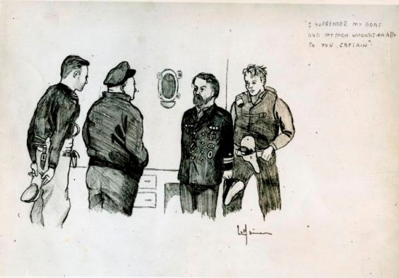 In this sketch by HMCS Victoriaville's gunnery officer, U-190's captain surrenders his submarine to the captain of the Canadian frigate, Lieutenant Commander Lester Hickey (center left, with cap). Hans-Erwin Reith (center, with beard), U-190's commander since July 1944, subsequently signed a deed of unconditional surrender handing over the U-Boat to the Royal Canadian Navy. Lieutenant Bud Burbridge (left) was among the Canadians who would form part of the crew taking U-190 to Bay Bulls, Newfoundland. George Metcalf Archival Collection CWM 20030255-010