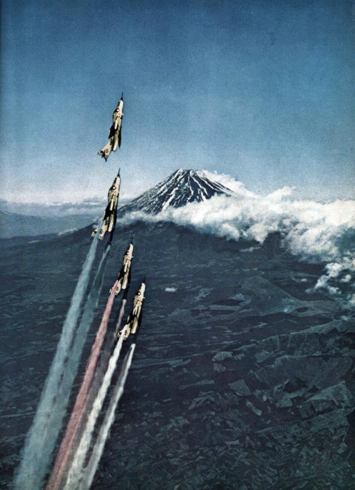 F9F Panthers over Mt. Fuji, c.1957