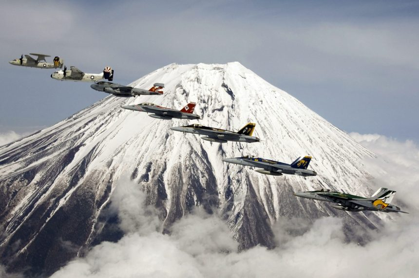 MOUNT FUJI, Japan (April 12, 2007) - Aircraft assigned to Carrier Air Wing (CVW) 5 perform a formation flight in front of Mount Fuji. CVW-5 is embarked aboard USS Kitty Hawk (CV 63). Kitty Hawk operates from Fleet Activities Yokosuka, Japan. U.S. Navy photo by Mass Communication Specialist 3rd Class Jarod Hodge