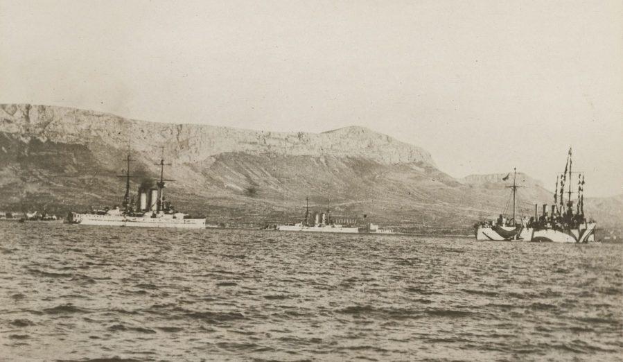 Surrender of Austrian Fleet - Austrian battleships surrendered to U.S. Naval forces 2.8.19 SMS Radetzky Zrinyi Spalate Birmingham cruiser LOC 165-WW-329D-002