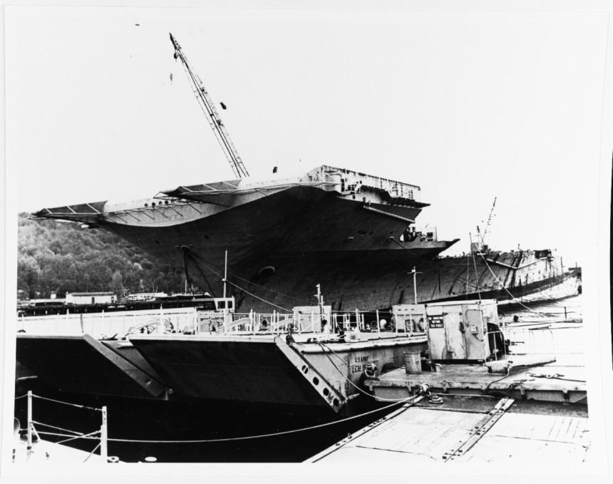 USS TICONDEROGA (CVA-14) Being scrapped at Tacoma, Washington, 1975. NH 89301