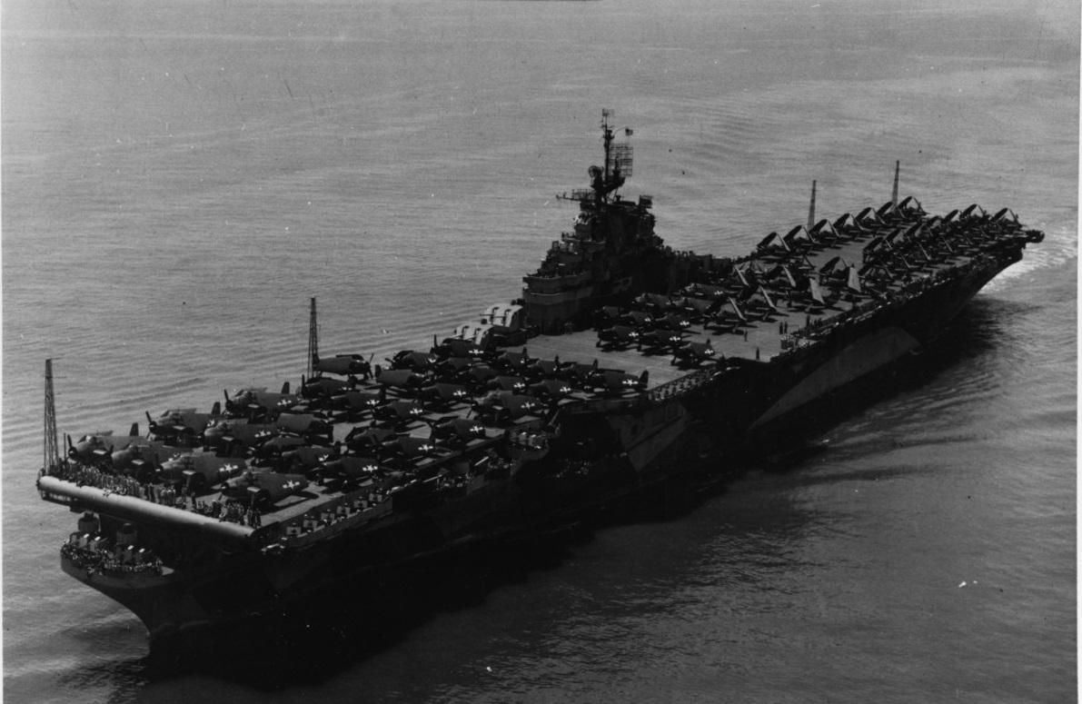 USS TICONDEROGA (CV-14) In Hampton Roads, Virginia, 26 June 1944. NH 92239