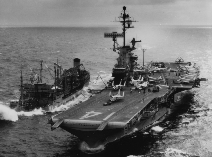 USS Ticonderoga (CVA-14) Refueling from USS Ashtabula (AO-51), while operating off the coast of Vietnam, circa early 1966. Although seas were running very high, the ships completed replenishment and Ticonderoga received 175,000 gallons of black oil. The original print was received by the All Hands magazine Editorial Department on 14 February 1966. NH 97487
