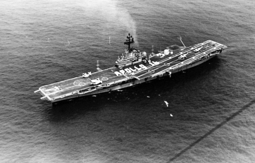 The Pacific Ocean. A view of the recovery carrier for the Apollo 16, USS Ticonderoga (CVS 14) with Apollo 16 spelt out on the flight deck. Photographed by PH1 Carl R. Begy on April 29, 1972. 428-GX-USN 1152791