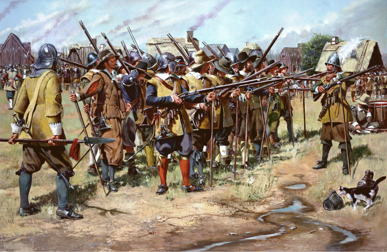 The First Muster By Don Troiani National Guard traces the traditional foundation to the East Regiment in Salem, the regiment formed as part of three organized by the Massachusetts Bay Colony in 1636-37