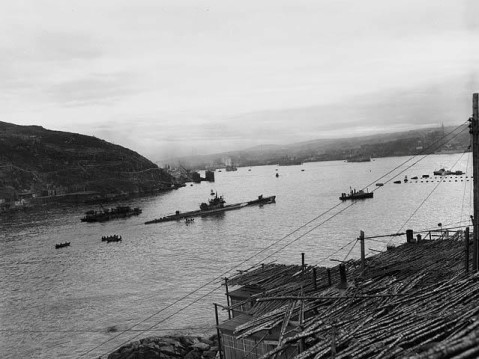 German submarine entering U-190 in St. John's Harbour Newfoundland courtesy of The Rooms