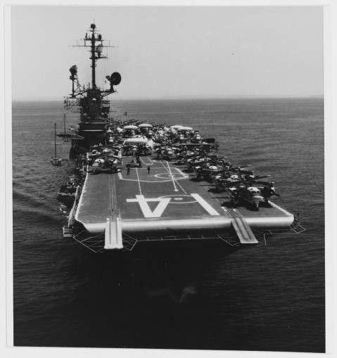 USS Ticonderoga (CVS-14) underway off San Diego, California, after departing Naval Air Station, North Island, for her final Western Pacific deployment, 17 May 1972. USN 1152586
