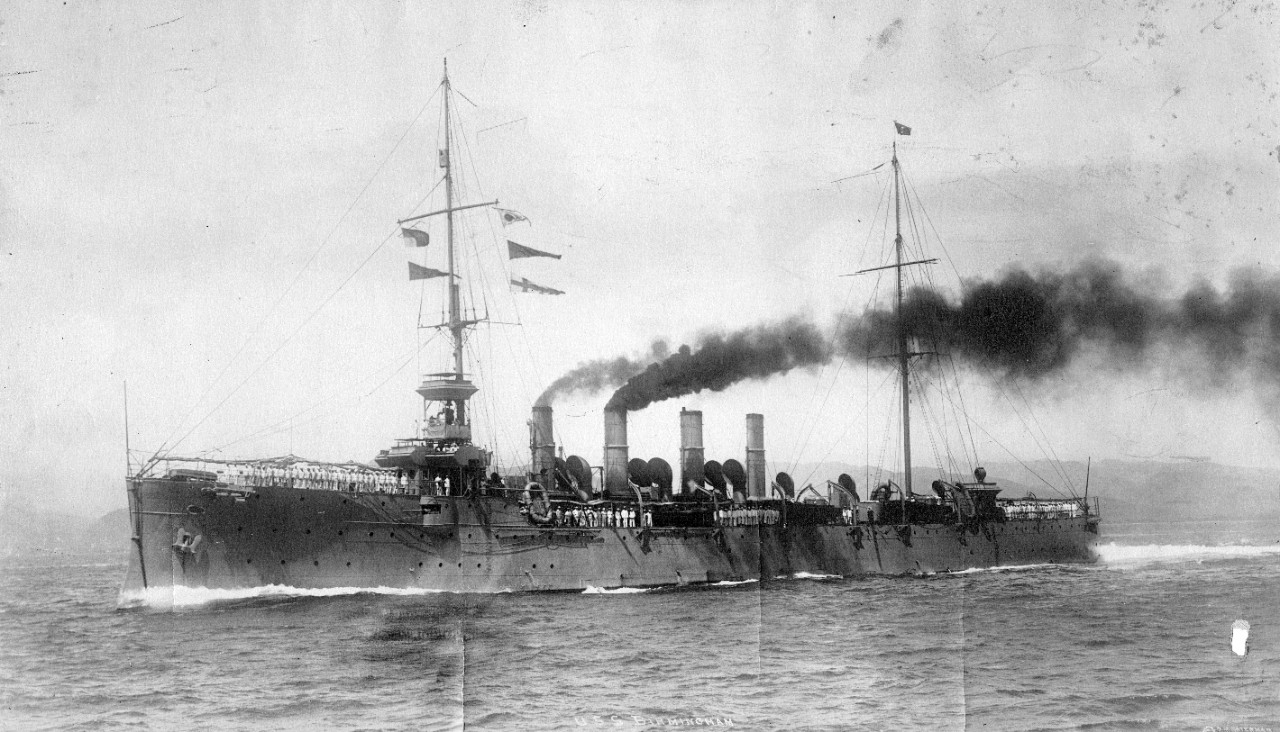USS Birmingham (CL-2), circa 1914. From the collection of ADM Horne. UA 571.96