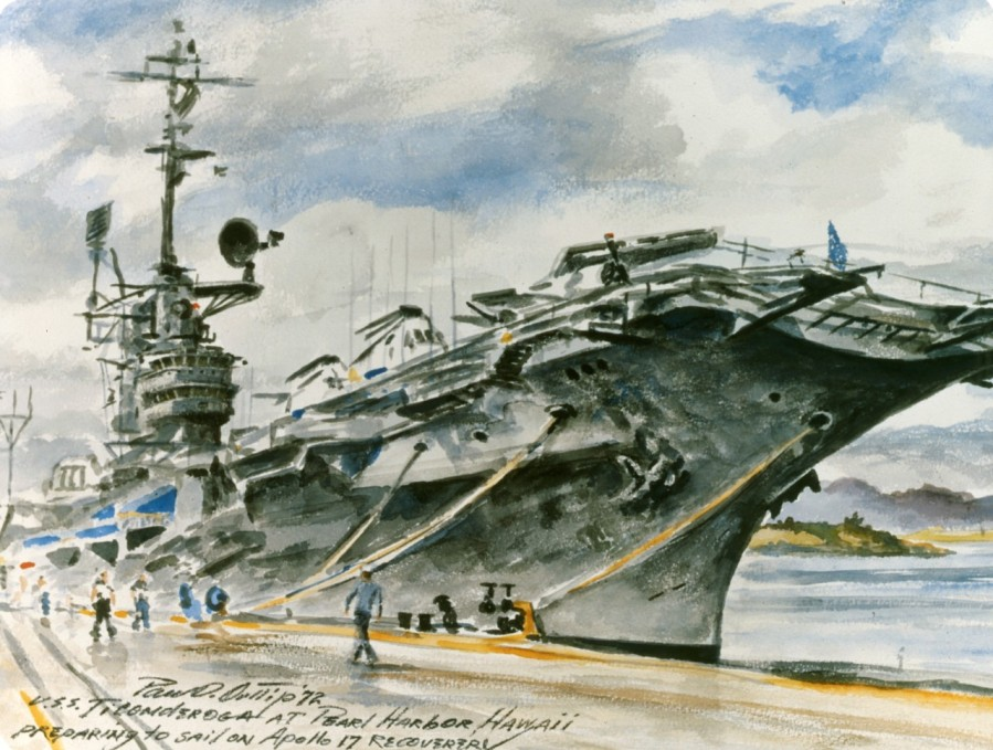 """USS Ticonderoga at Pearl Harbor, Hawaii. """"After nearly thirty years of service to the Navy starting in World War II, one of USS Ticonderoga's last missions was the recovery of the astronauts of Apollo 17. The artwork shows the ship waiting at Pearl Harbor for orders to go on station near American Samoa."""" Painting, Watercolor on Paper; by Paul D. Ortlip; 1972; Framed Dimensions 25H X 31W Accession #: 88-162-OZ"""