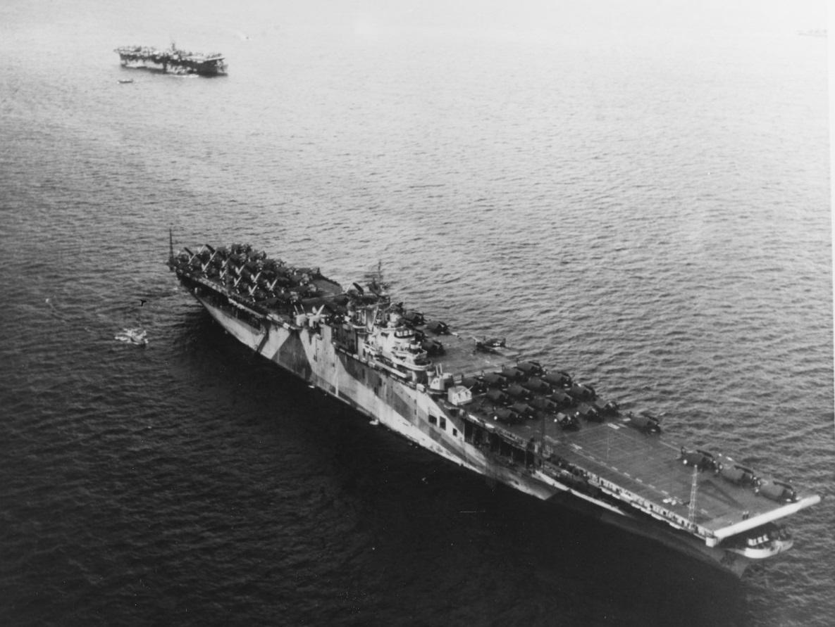 "USS TICONDEROGA (CV-14) at Ulithi Fleet Anchorage, 8 December 1944, while part of ""Murderer's Row"" 80-G-K-2589"