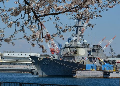 YOKOSUKA, Japan (April 4, 2019) The Arleigh Burke-class guided-missile destroyer USS Stethem (DDG 63) is moored at Fleet Activities (FLEACT) Yokosuka (U.S. Navy photo by Mass Communication Specialist 2nd Class Tyler R. Fraser/Released)