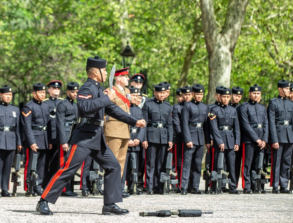 A member of 10 Queen's Own Gurkha Logistic Regiment challenges on Guard during the drill practice for the Ceremony of the Keys The Queen's Own Gurkha Logistic Regiment Kukri