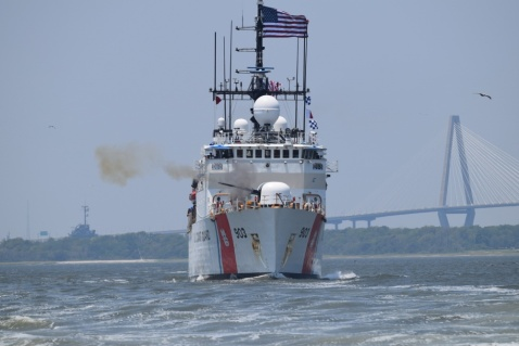 Coast Guard Cutter Harriet Lane fired a commemorative shot Thursday to honor the 158th anniversary of its namesake's action near Fort Sumter