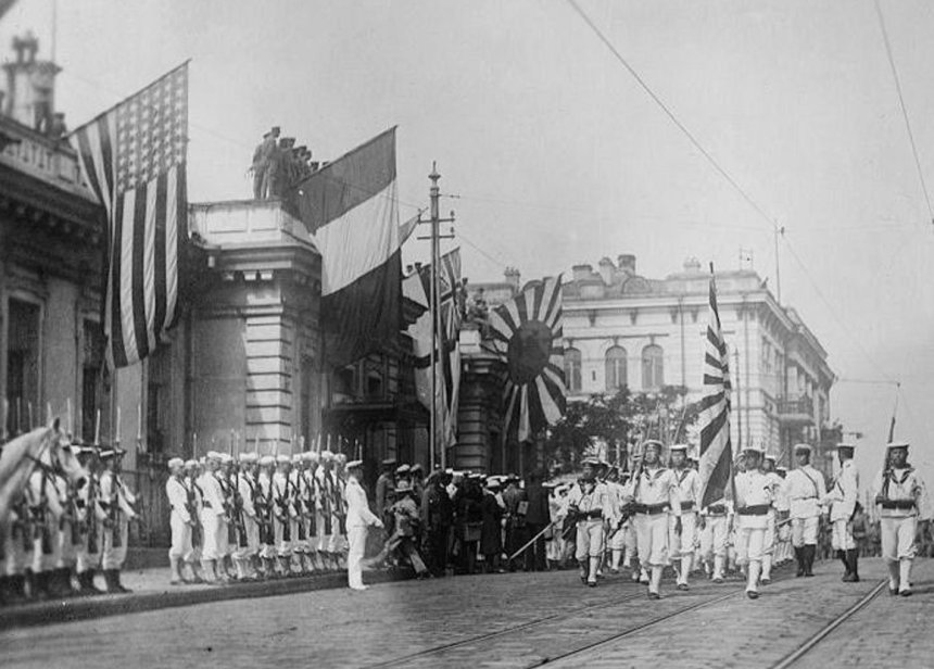 Japanese marines in a parade of Allied forces in Vladivostok before French and American sailors 1918