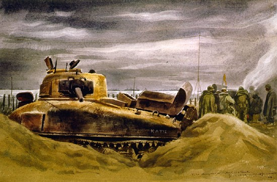 Mitchell Jamieson The Dragon - Wrecked M4 Tank Dday 88-193-hs