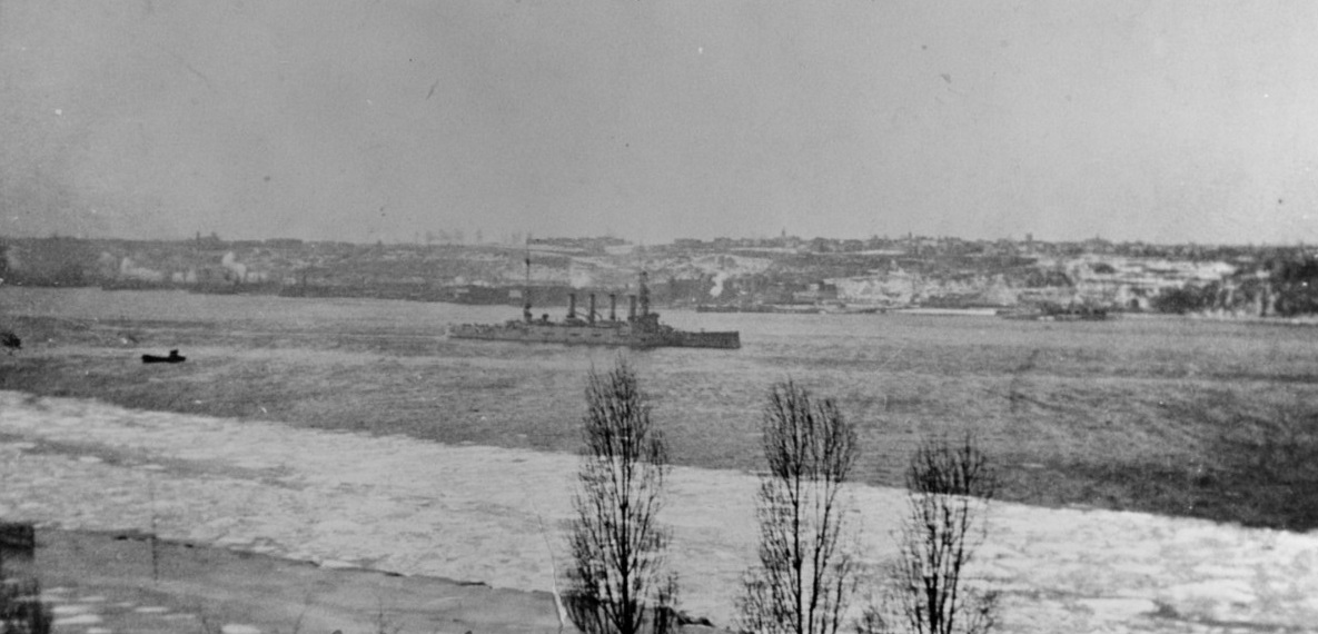 USS SAN DIEGO (CA-6) As seen by Rear Admiral Francis Taylor, USN, from the living room window at 127 Riverside Drive, San Diego, in 1916. Description: Courtesy of Mrs. Francis Taylor. NH 70288