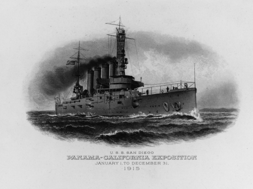 USS SAN DIEGO (CA-6) Caption: Engraving issued for the Panama-Pacific Exposition, 1915. Courtesy of the US Army Military History Institute Catalog #: NH 91732