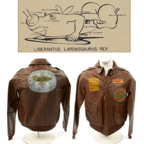 Original U.S. WWII B-24 Liberator 745th Bomb Squadron Lardassaurus Named Bombardier A-2 Flight Jacket