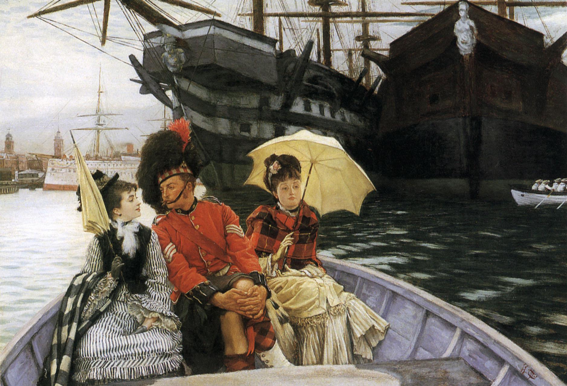 Portsmouth Dockyard by James Tissot 1877 Highlander ironclad and ship of war