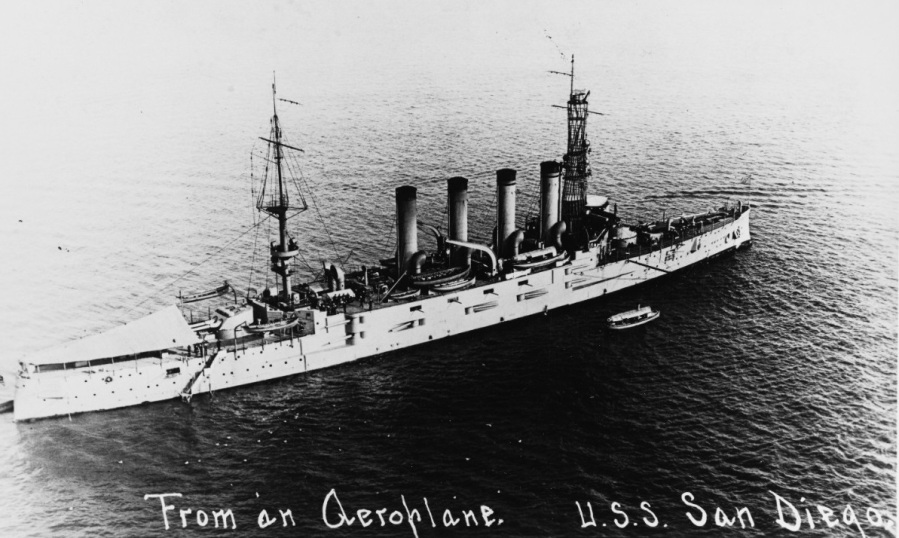 USS San Diego (Armored Cruiser No. 6) Photographed from an airplane in San Diego harbor, California, 28 March 1916. Collection of Thomas P. Naughton, 1973. NH 92175