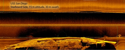 Side scan sonar image of the wreck site of USS San Diego collected by Mobile Diving and Salvage Unit 2 in June 2017 as part of a training operation. The ship rests upside down on the seabed, and the starboard side is shown, with the bow to the right of the image.