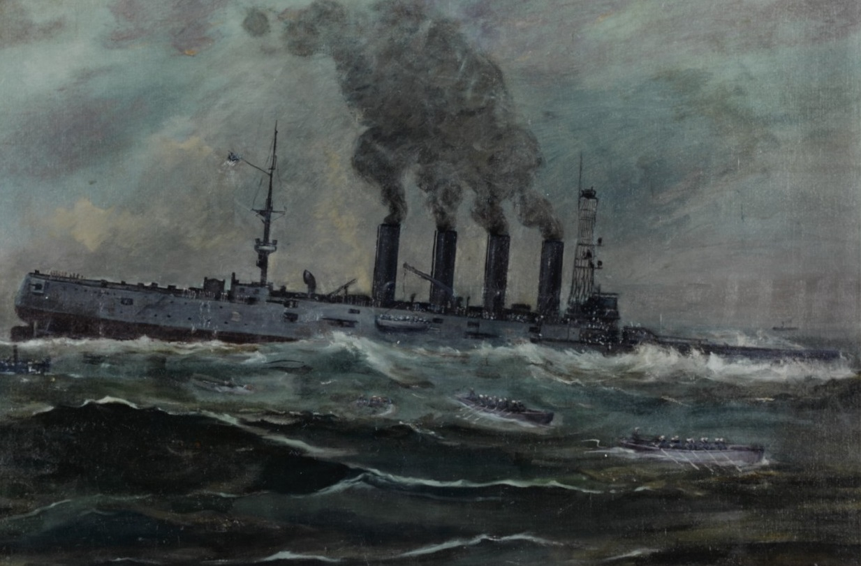 USS San Diego (Armored Cruiser No. 6) Painting by Francis Muller, 1920. It depicts the ship sinking off Fire Island, New York, 19 July 1918. The cruiser sank in 28 minutes, the only major warship lost by the United States in World War I. Courtesy of the Navy Art Collection, Washington, D.C. NH 55012-KN