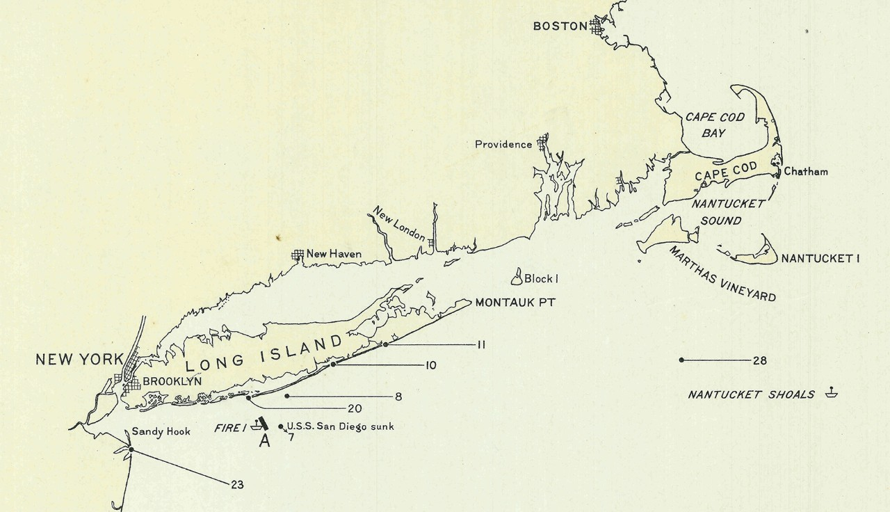 """Excerpt from the map """"Summary of Enemy Mining Activities on the U.S. Atlantic Coast"""" showing locations of mines found off the coast of Long Island, New York through 17 February 1919. U.S. Navy Hydrographic Office Map, now housed at the National Archives and Records Administration, Record Group 37."""