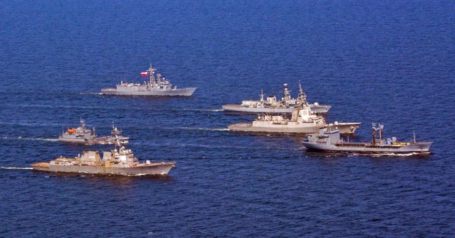 Standing NATO Maritime Group One 2019 USS Gravely EPS Almirante Juan de BorbónTCG Gokova ORP Generał Kazimierz Pułaski HDMS Absalon,HMS Westminster German tanker FGS Rhön.