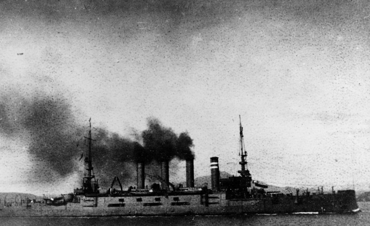 USS California (Armored Cruiser No. 6) Underway in San Pablo Bay, California, 1909. Collection of Rear Admiral Ammen Farenholt, USN(MC). NH 55009