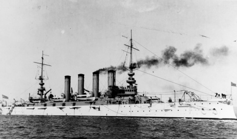 USS California (Armored Cruiser No. 6) Photographed circa 1908. NH 55011