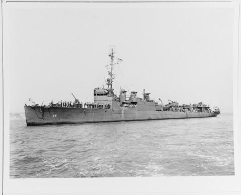 USS Zane (DMS-14) Off San Francisco, California, 21 September 1943. Photograph from the Bureau of Ships Collection in the U.S. National Archives. Catalog #: 19-N-57504