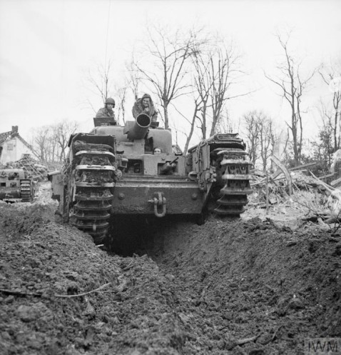 Churchill AVRE (Armoured Vehicle Royal Engineer) was a modified Churchill tank fitted with a Petard spigot mortar IWM photo