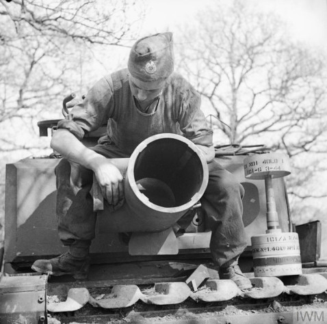 Churchill AVRE's main weapon was a 29cm Petard spigot mortar. It fired a 40-pound bomb known as the 'Flying Dustbin IWM photo