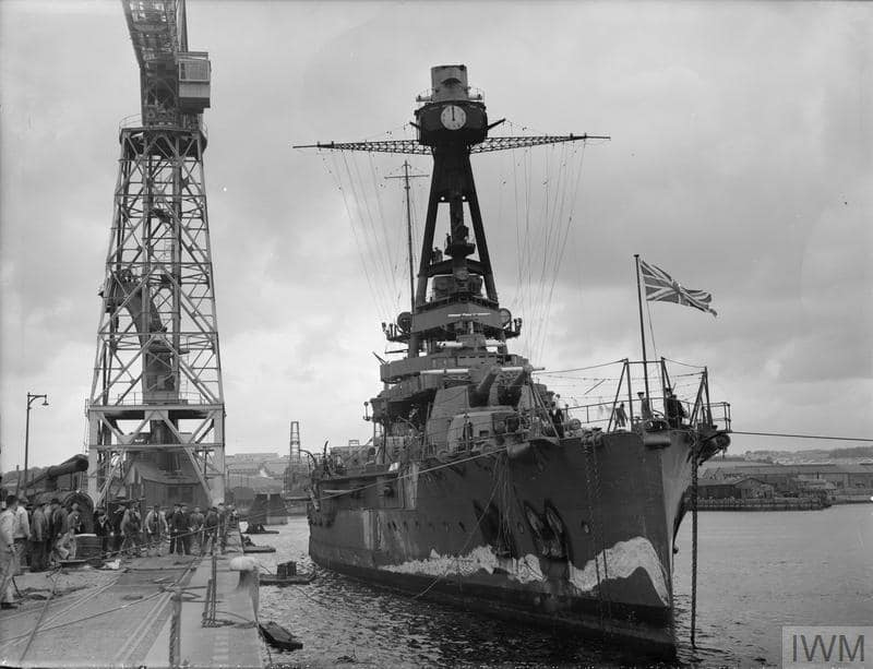 Courbet-class battleship Paris in British hands, 1940, note the Union Jack on her bow IWM