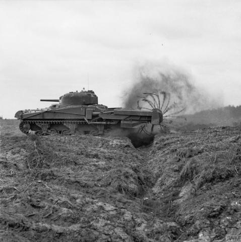 'Crab' was a Sherman tank with a flail (roller and weighted chain) attachment used to clear mines. 185 M4 Sherman tanks lost DDa