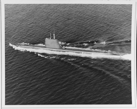 Greenfish This submarine is shown underway in Subic Bay, Philippines, 28 October 1969. K-78775