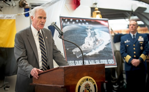 190606-N-YG104-4001 NORMANDY, France (June 06, 2019) Secretary of the Navy (SECNAV) Richard V. Spencer announces the nanming of a future Arleigh Burke-class guided-missile destroyer, USS Quentin Walsh (DDG 132), in honor of Coast Guard Capt. Quentin Walsh, who was awarded the Navy Cross for his service during World War II at Normandy, France. Spencer made the announcement alongside Adm. Karl Schultz, the commandant of the U.S. Coast Guard, in a ceremony aboard the U.S. Coast Guard training ship Eagle in Cherbourg, France. (U.S. Navy photo by Mass Communication Specialist 1st Class Sarah Villegas)