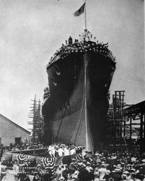 Launch of USS Arizona (BB-39) UA 476.12