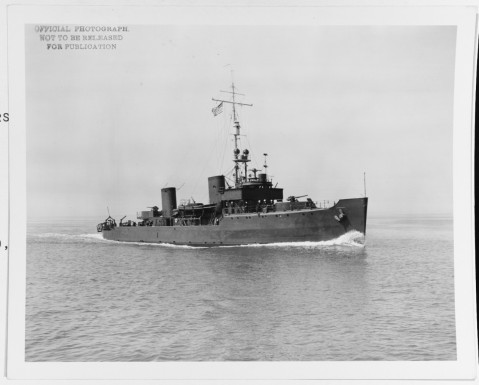 USS Osprey (AM-56) Underway, circa April 1941, probably while running trials. Note that her bow numbers have been freshly painted out. Photograph was received from the Norfolk Naval Shipyard, Portsmouth, Virginia, in 1972. NH 84026
