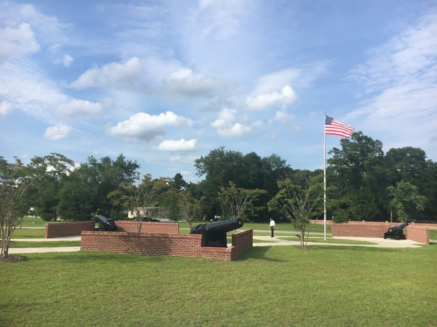 Overall view of the three mounted CSS Pee Dee cannons located between the VA building and the cemetery.
