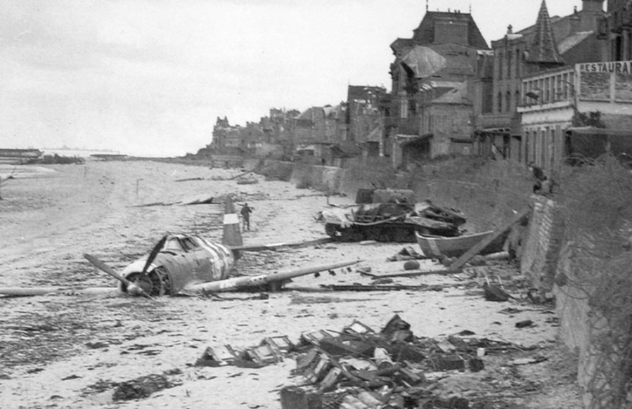 P-47 with invasion stripes knocked out Sherman M4 Saint-Aubin-sur-Mer, France, 1944