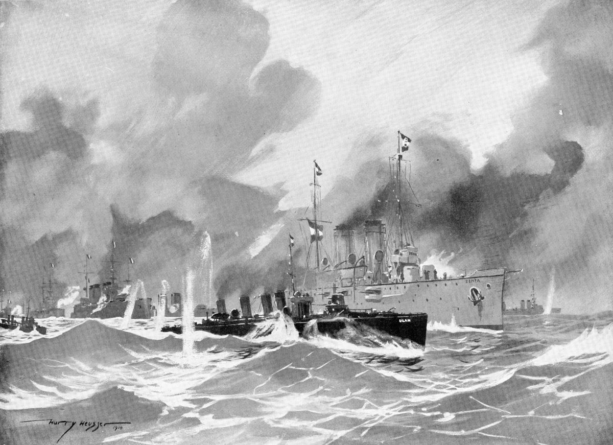 Painting showing SMS Zenta and SMS Ulan in action on 16 August 1914, by Harry Heusser via Illustrirte Zeitung 1915, wiki