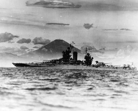 The U.S. Navy battleship USS New Mexico (BB-40) anchored in the Tokyo Bay area, circa late August 1945, at the end of World War II. Mount Fuji is in the background. NH 50232